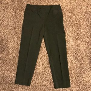 Army green pull on dress pants. Super comfy!!!